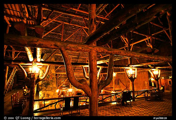 Wooden structures inside Old Faithful Inn. Yellowstone National Park (color)