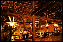 Wooden structures inside Old Faithful Inn. Yellowstone National Park, Wyoming, USA.