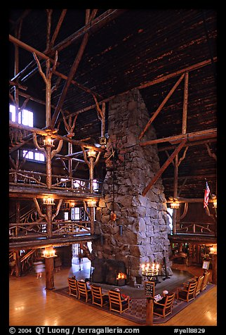 Chimney in main hall of Old Faithful Inn. Yellowstone National Park, Wyoming, USA.