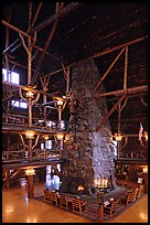 Chimney in main hall of Old Faithful Inn. Yellowstone National Park, Wyoming, USA. (color)