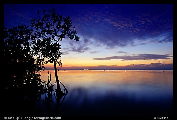 Sunset on Biscaye Bay from Elliott Key. Biscayne National Park (color)