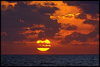 Sun rises over the Atlantic ocean. Biscayne National Park, Florida, USA.