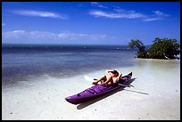 Kayaker relaxing on Elliott Key. Biscayne National Park, Florida, USA.