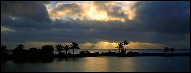 Sunrise with dark clouds over coastal lagoon. Biscayne National Park, Florida, USA.