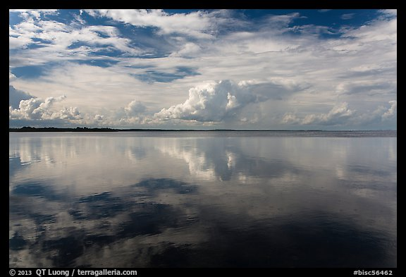 Clouds reflected in water, Biscayne Bay. Biscayne National Park (color)