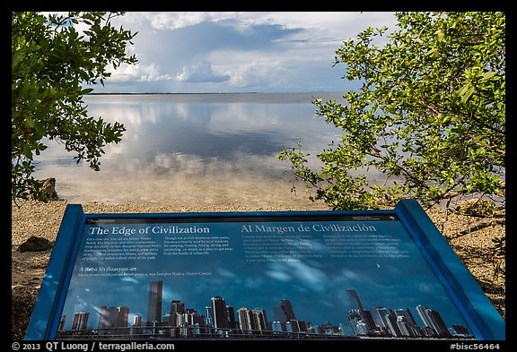 interpretive sign, Miami in the distance. Biscayne National Park (color)