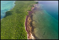 Aerial view of section of Biscayne Bay, Elliott Key, and Margot Fish Shoal. Biscayne National Park ( color)
