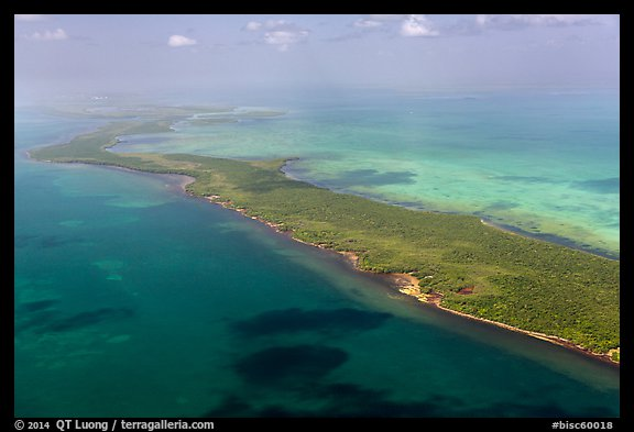 Aerial view of reef, Elliott Key, and Biscayne Bay. Biscayne National Park (color)
