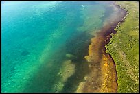 Aerial view of reef, shoal, coastline, and forest. Biscayne National Park ( color)