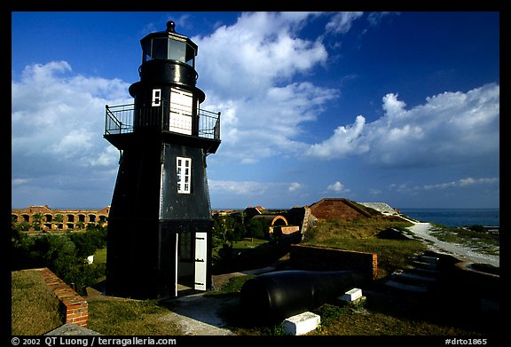 Fort Jefferson lighthouse overlooking Ocean,  early morning. Dry Tortugas National Park (color)