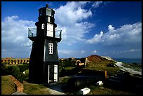 Fort Jefferson lighthouse overlooking Ocean,  early morning. Dry Tortugas National Park, Florida, USA.