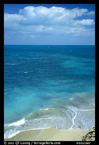 Open ocean view with beach, turquoise waters and surf. Dry Tortugas National Park (color)