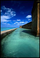 Fort Jefferson moat and massive brick wall on a sunny dayl. Dry Tortugas National Park ( color)