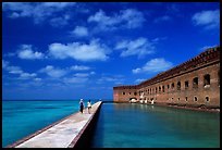 Visitors stroll on the seawall. Dry Tortugas National Park ( color)