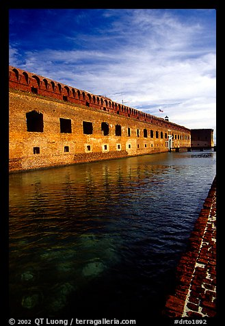Fort Jefferson moat and thick brick walls. Dry Tortugas National Park, Florida, USA.