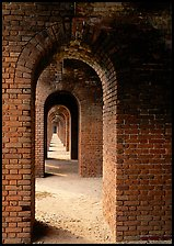 Arches on the second floor of Fort Jefferson. Dry Tortugas National Park, Florida, USA. (color)