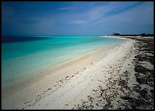 Sandy beach and turquoise waters, Bush Key. Dry Tortugas National Park, Florida, USA.