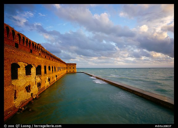 Fort Jefferson wall, moat and seawall, late afternoon light. Dry Tortugas National Park (color)