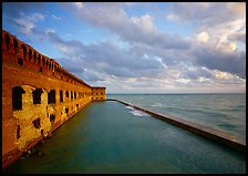 Fort Jefferson wall, moat and seawall, late afternoon light. Dry Tortugas National Park, Florida, USA. (color)