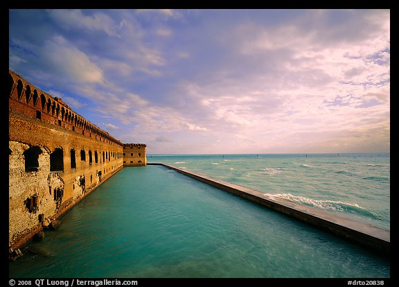 Fort Jefferson wall, moat and seawall, brighter late afternoon light. Dry Tortugas National Park (color)