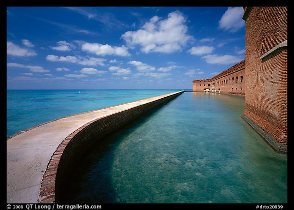 Seawall and moat on a calm sunny day, Fort Jefferson. Dry Tortugas  National Park (color)