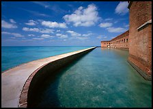 Seawall, moat, and rampart on a calm sunny day, Fort Jefferson. Dry Tortugas National Park, Florida, USA.