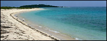 Sandy beach and turquoise waters. Dry Tortugas National Park (Panoramic color)