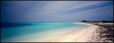 Sandy beach, Bush Key. Dry Tortugas  National Park (Panoramic color)