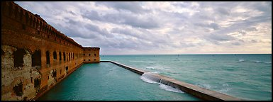 Fort Jefferson wall and ocean. Dry Tortugas National Park (Panoramic color)