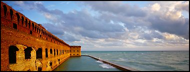 Ruined masonery wall overlooking Carribean waters. Dry Tortugas National Park (Panoramic color)