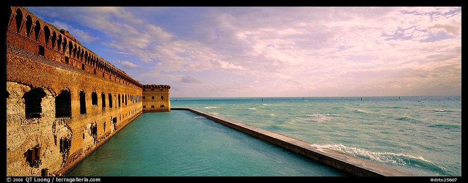 Seascape with fort and seawall. Dry Tortugas National Park (color)