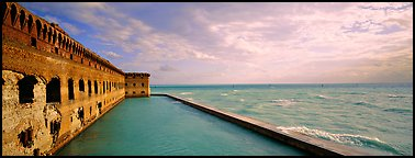Seascape with fort and seawall. Dry Tortugas  National Park (Panoramic color)