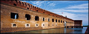 Fort Jefferson reflected in moat. Dry Tortugas National Park (Panoramic color)