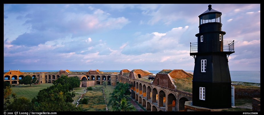 Lighthouse and Fort Jefferson. Dry Tortugas National Park (color)