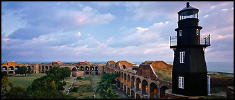 Lighthouse and Fort Jefferson. Dry Tortugas  National Park (Panoramic color)