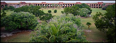Grassy courtyard of Fort Jefferson. Dry Tortugas  National Park (Panoramic color)