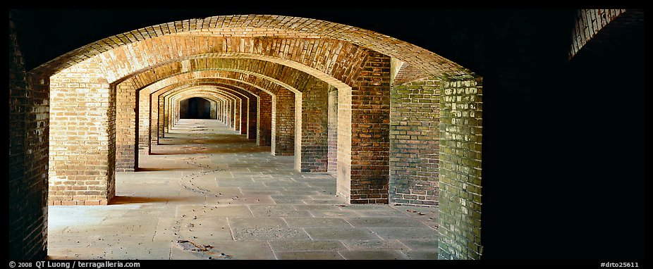 Arches in Fort Jefferson lower level. Dry Tortugas National Park (color)