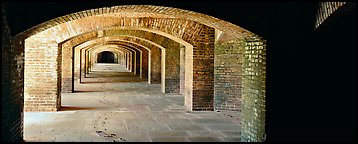Arches in Fort Jefferson lower level. Dry Tortugas  National Park (Panoramic color)
