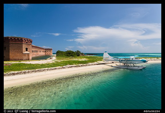 Seaplane and Fort Jefferson. Dry Tortugas National Park (color)