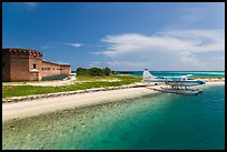 Seaplane and Fort Jefferson. Dry Tortugas National Park, Florida, USA. (color)