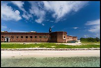 Beach, Garden Key, and Fort Jefferson. Dry Tortugas National Park, Florida, USA. (color)
