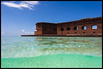 Split view of Fort Jefferson and clear sandy bottom. Dry Tortugas National Park, Florida, USA. (color)