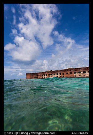Fort Jefferson see at water level. Dry Tortugas National Park (color)
