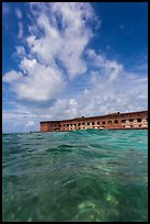 Fort Jefferson see at water level. Dry Tortugas National Park, Florida, USA. (color)