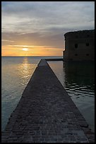 Fort Jefferson seawall and moat at sunset. Dry Tortugas National Park ( color)