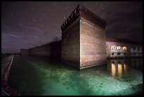 Fort Jefferson corner turret and moat at night. Dry Tortugas National Park ( color)