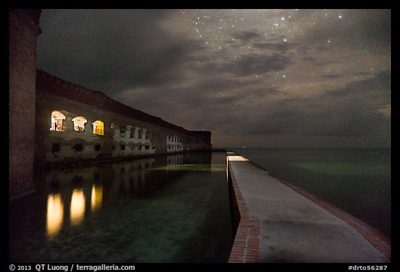 Fort Jefferson, moat, and ocean at night. Dry Tortugas National Park (color)