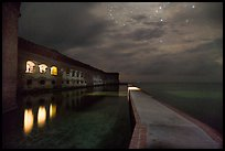 Fort Jefferson, moat, and ocean at night. Dry Tortugas National Park ( color)