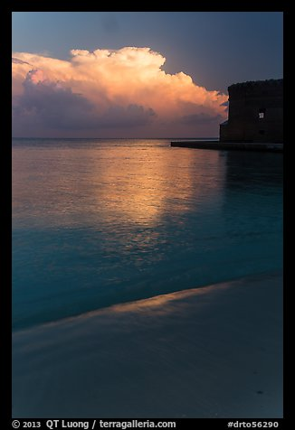 Beach, cloud and fort at sunrise. Dry Tortugas National Park (color)