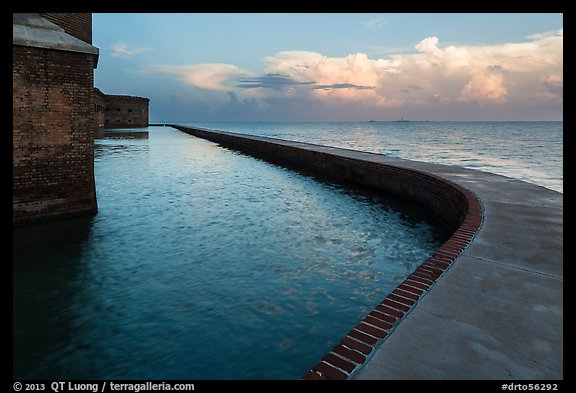 Seawall at sunrise. Dry Tortugas National Park (color)